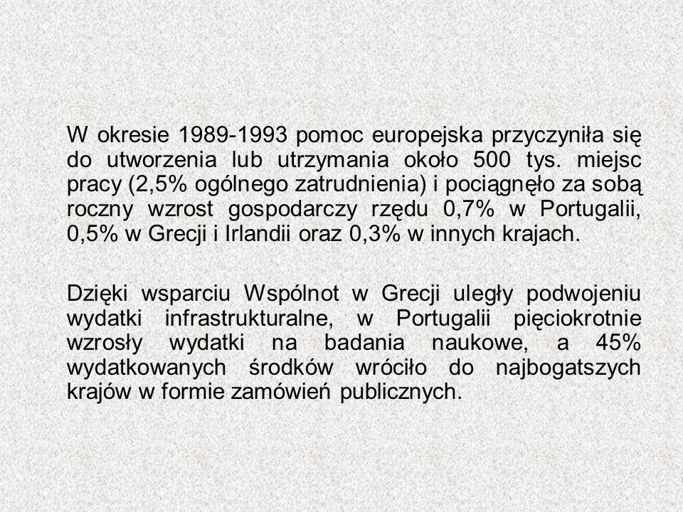 W okresie 1989-1993 pomoc europejska przyczyniła się do utworzenia lub utrzymania około 500 tys. miejsc pracy (2,5% ogólnego zatrudnienia) i pociągnęł