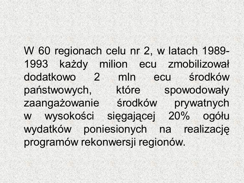 W 60 regionach celu nr 2, w latach 1989- 1993 każdy milion ecu zmobilizował dodatkowo 2 mln ecu środków państwowych, które spowodowały zaangażowanie ś