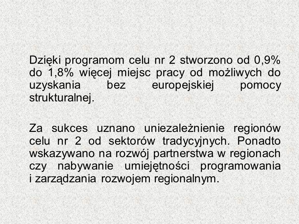 Dzięki programom celu nr 2 stworzono od 0,9% do 1,8% więcej miejsc pracy od możliwych do uzyskania bez europejskiej pomocy strukturalnej. Za sukces uz