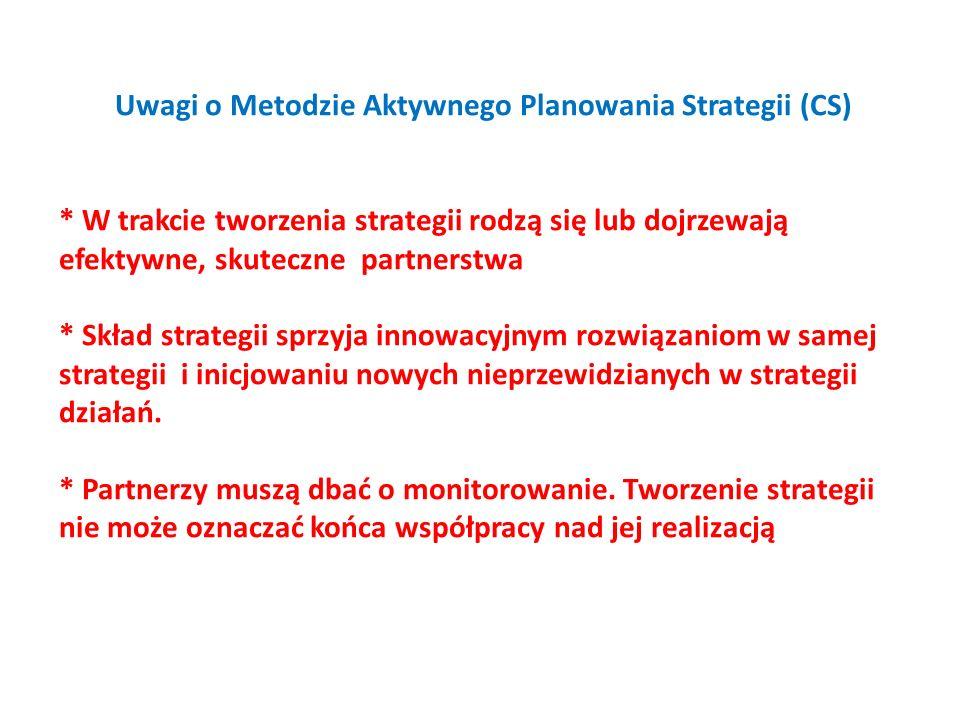 Uwagi o Metodzie Aktywnego Planowania Strategii (CS) * W trakcie tworzenia strategii rodzą się lub dojrzewają efektywne, skuteczne partnerstwa * Skład strategii sprzyja innowacyjnym rozwiązaniom w samej strategii i inicjowaniu nowych nieprzewidzianych w strategii działań.