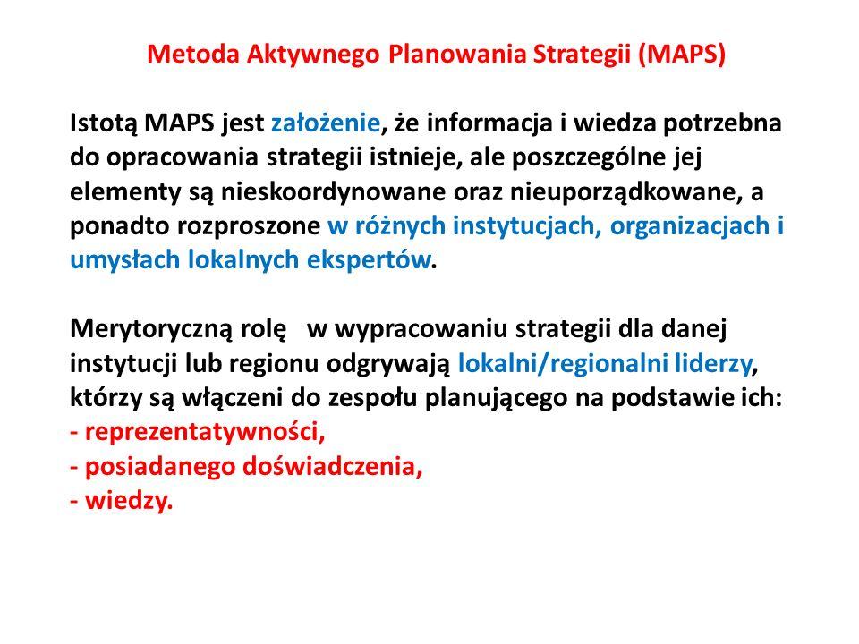 Metoda Aktywnego Planowania Strategii (MAPS) Istotą MAPS jest założenie, że informacja i wiedza potrzebna do opracowania strategii istnieje, ale poszczególne jej elementy są nieskoordynowane oraz nieuporządkowane, a ponadto rozproszone w różnych instytucjach, organizacjach i umysłach lokalnych ekspertów.