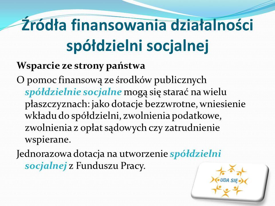 Źródła finansowania działalności spółdzielni socjalnej Wsparcie ze strony państwa O pomoc finansową ze środków publicznych spółdzielnie socjalne mogą się starać na wielu płaszczyznach: jako dotacje bezzwrotne, wniesienie wkładu do spółdzielni, zwolnienia podatkowe, zwolnienia z opłat sądowych czy zatrudnienie wspierane.