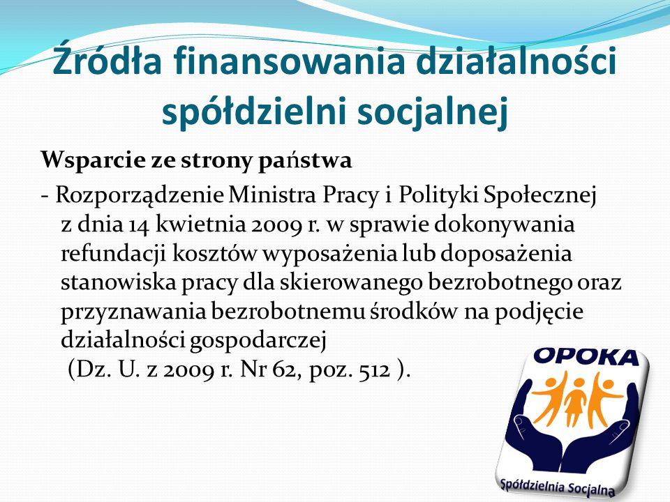 Źródła finansowania działalności spółdzielni socjalnej Wsparcie ze strony państwa - Rozporządzenie Ministra Pracy i Polityki Społecznej z dnia 14 kwietnia 2009 r.