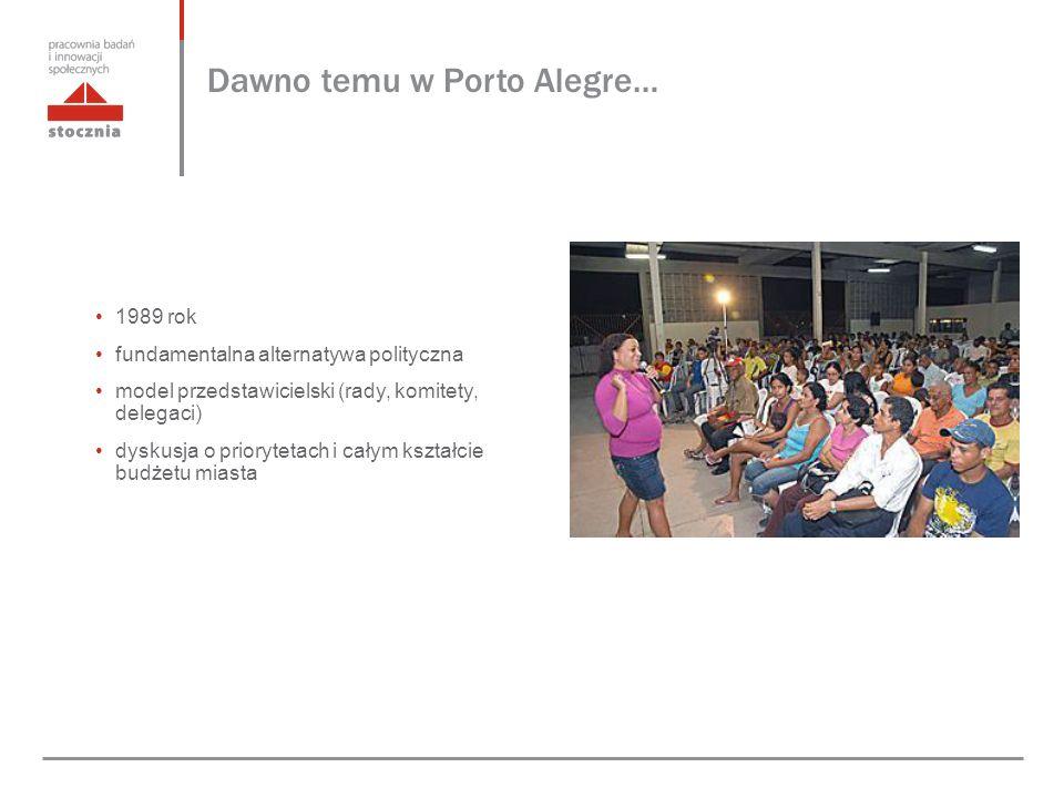 Dawno temu w Porto Alegre… 1989 rok fundamentalna alternatywa polityczna model przedstawicielski (rady, komitety, delegaci) dyskusja o priorytetach i całym kształcie budżetu miasta