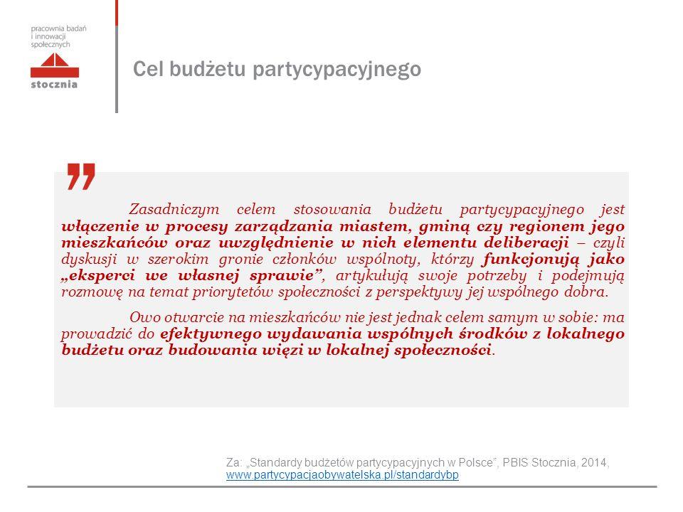 """Cel budżetu partycypacyjnego Za: """"Standardy budżetów partycypacyjnych w Polsce , PBIS Stocznia, 2014, www.partycypacjaobywatelska.pl/standardybp www.partycypacjaobywatelska.pl/standardybp Zasadniczym celem stosowania budżetu partycypacyjnego jest włączenie w procesy zarządzania miastem, gminą czy regionem jego mieszkańców oraz uwzględnienie w nich elementu deliberacji – czyli dyskusji w szerokim gronie członków wspólnoty, którzy funkcjonują jako """"eksperci we własnej sprawie , artykułują swoje potrzeby i podejmują rozmowę na temat priorytetów społeczności z perspektywy jej wspólnego dobra."""