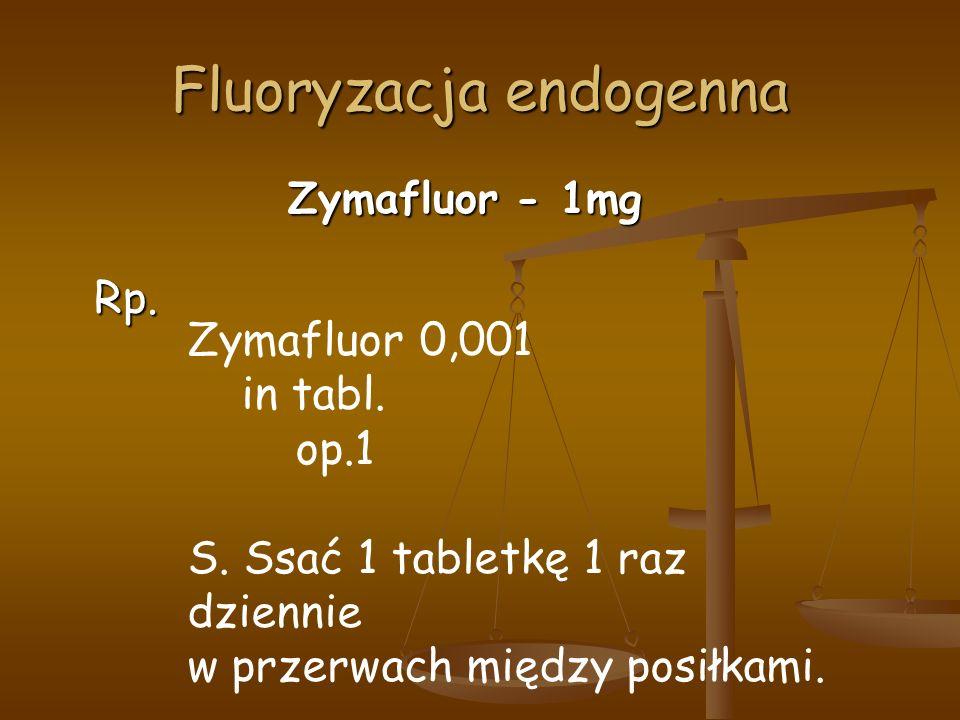 Fluoryzacja endogenna Zymafluor - 1mg Rp. Zymafluor 0,001 in tabl.