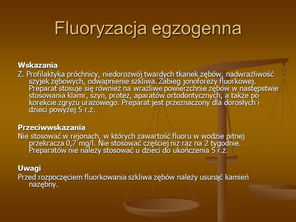 Fluoryzacja egzogenna Wskazania Z.