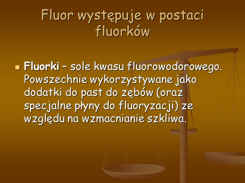 Fluor występuje w postaci fluorków Fluorki – sole kwasu fluorowodorowego.