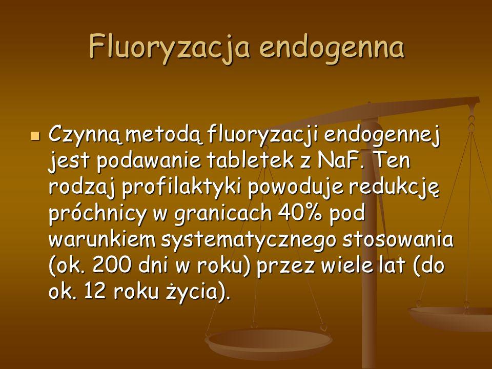 Fluoryzacja endogenna Czynną metodą fluoryzacji endogennej jest podawanie tabletek z NaF.