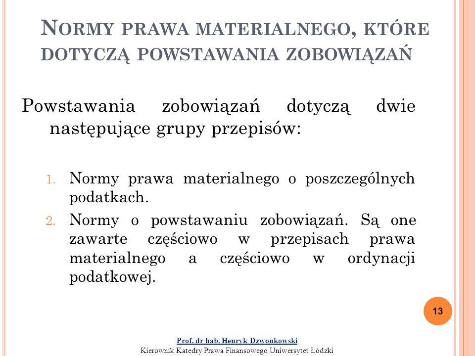 N ORMY PRAWA MATERIALNEGO, KTÓRE DOTYCZĄ POWSTAWANIA ZOBOWIĄZAŃ Powstawania zobowiązań dotyczą dwie następujące grupy przepisów: 1.