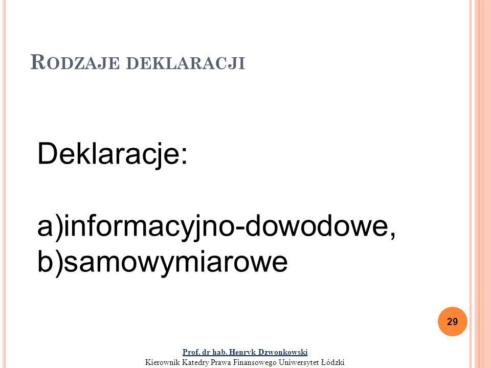 R ODZAJE DEKLARACJI 29 Deklaracje: a)informacyjno-dowodowe, b)samowymiarowe Prof.