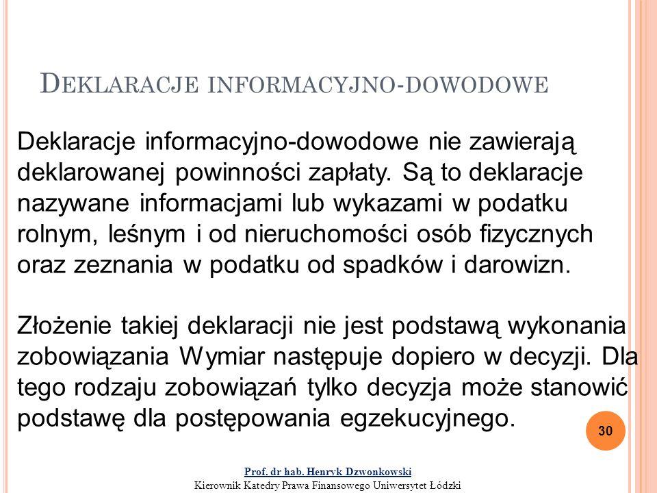 D EKLARACJE INFORMACYJNO - DOWODOWE 30 Deklaracje informacyjno-dowodowe nie zawierają deklarowanej powinności zapłaty.