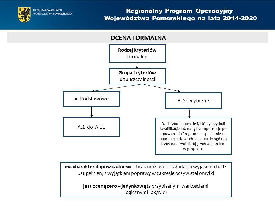 Rodzaj kryteriów formalne Grupa kryteriów dopuszczalności B.
