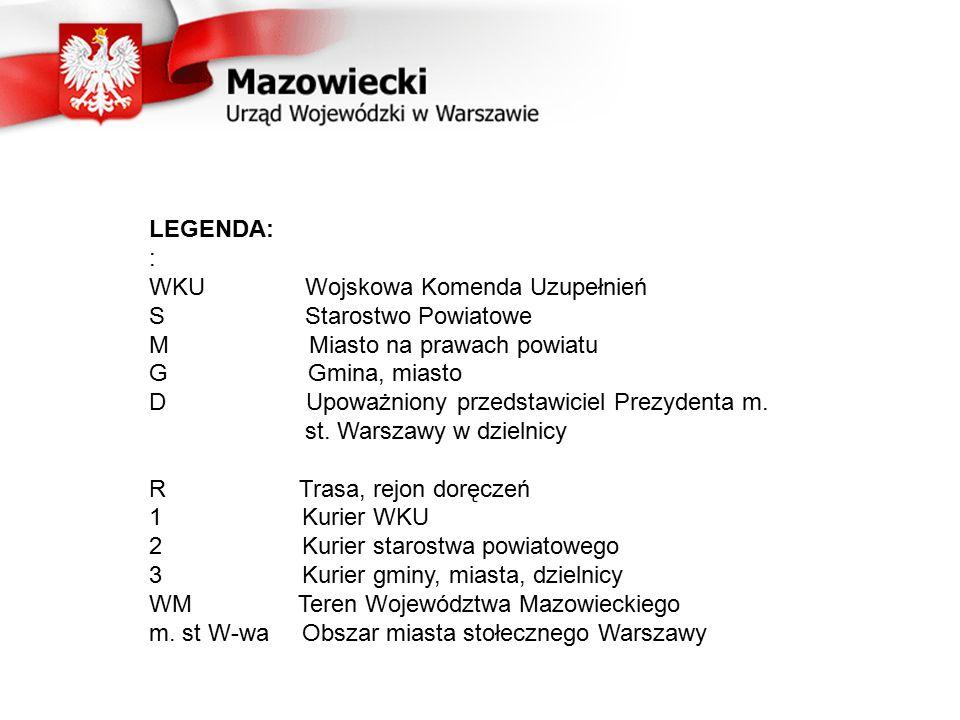 LEGENDA: : WKU Wojskowa Komenda Uzupełnień S Starostwo Powiatowe M Miasto na prawach powiatu G Gmina, miasto D Upoważniony przedstawiciel Prezydenta m.