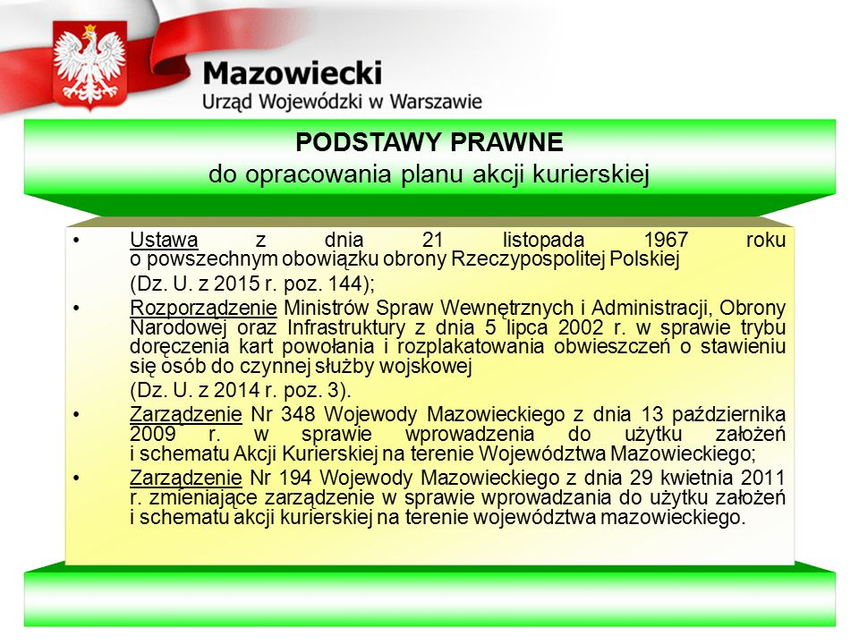 Dokumenty (teczka) kierującego Akcją Kurierską: 1.Spis dokumentów Akcji Kurierskiej urzędu gminy, miasta lub starostwa powiatowego (załącznik nr 2).