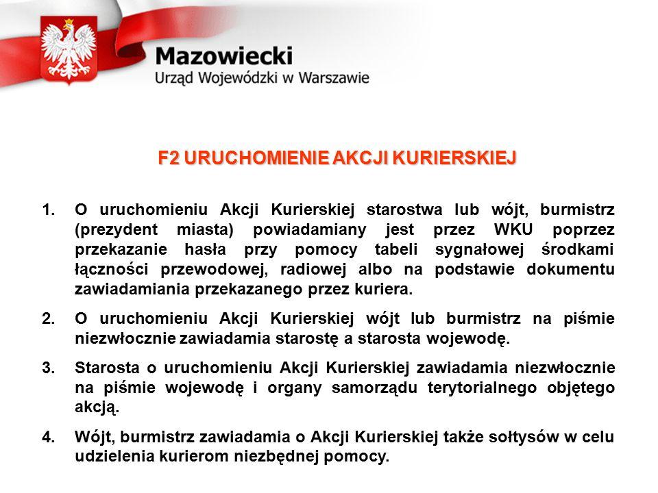 1.O uruchomieniu Akcji Kurierskiej starostwa lub wójt, burmistrz (prezydent miasta) powiadamiany jest przez WKU poprzez przekazanie hasła przy pomocy tabeli sygnałowej środkami łączności przewodowej, radiowej albo na podstawie dokumentu zawiadamiania przekazanego przez kuriera.