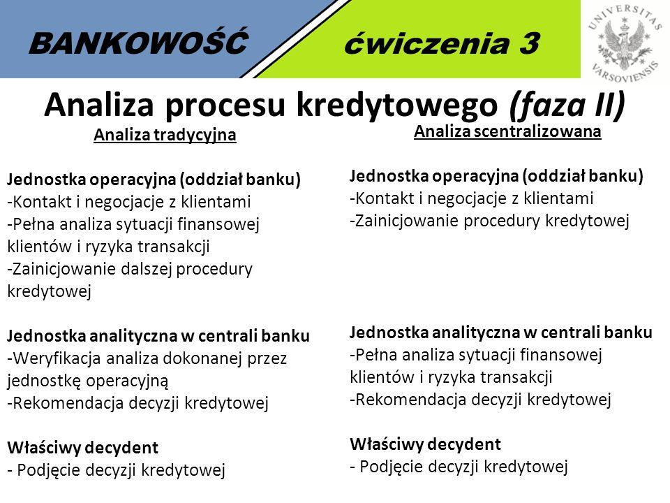 6 BANKOWOŚĆćwiczenia 3 Analiza procesu kredytowego (faza II) Analiza tradycyjna Jednostka operacyjna (oddział banku) -Kontakt i negocjacje z klientami