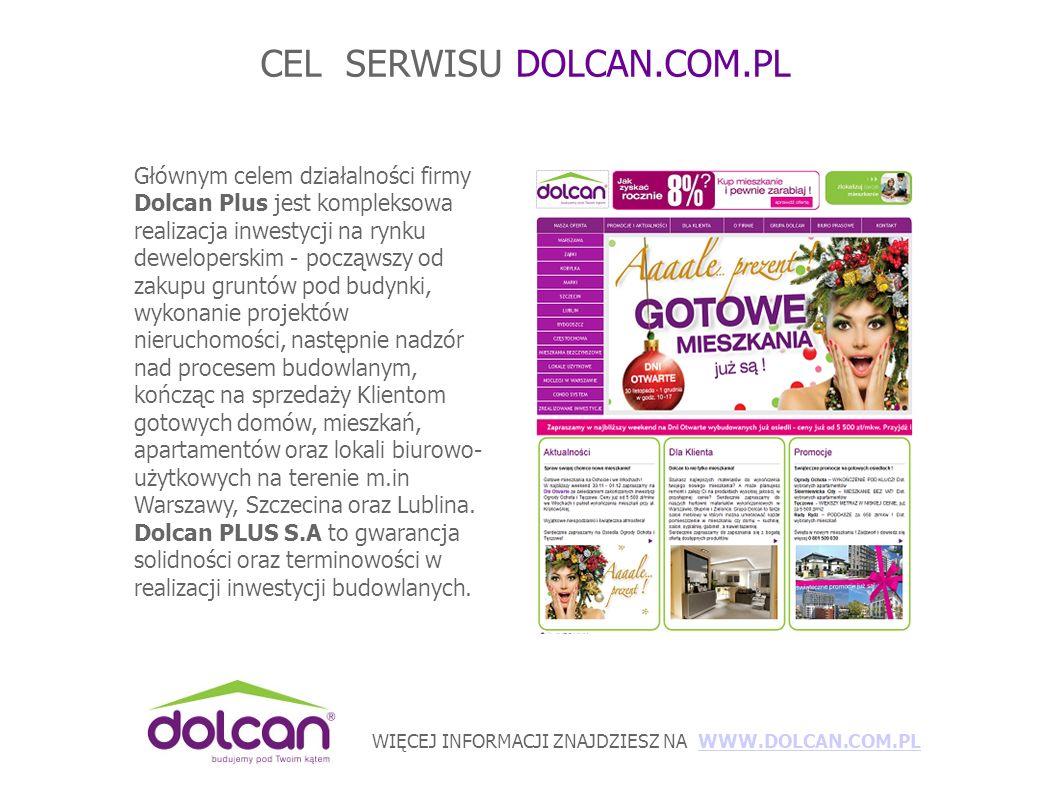 WIĘCEJ INFORMACJI ZNAJDZIESZ NA WWW.DOLCAN.COM.PLWWW.DOLCAN.COM.PL CEL SERWISU DOLCAN.COM.PL Głównym celem działalności firmy Dolcan Plus jest kompleksowa realizacja inwestycji na rynku deweloperskim - począwszy od zakupu gruntów pod budynki, wykonanie projektów nieruchomości, następnie nadzór nad procesem budowlanym, kończąc na sprzedaży Klientom gotowych domów, mieszkań, apartamentów oraz lokali biurowo- użytkowych na terenie m.in Warszawy, Szczecina oraz Lublina.