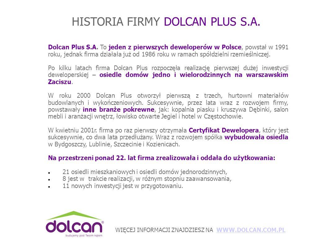 WIĘCEJ INFORMACJI ZNAJDZIESZ NA WWW.DOLCAN.COM.PLWWW.DOLCAN.COM.PL HISTORIA FIRMY DOLCAN PLUS S.A.