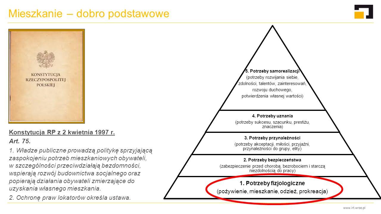 www.irt.wroc.pl Mieszkanie – dobro podstawowe Konstytucja RP z 2 kwietnia 1997 r. Art. 75. 1. Władze publiczne prowadzą politykę sprzyjającą zaspokoje