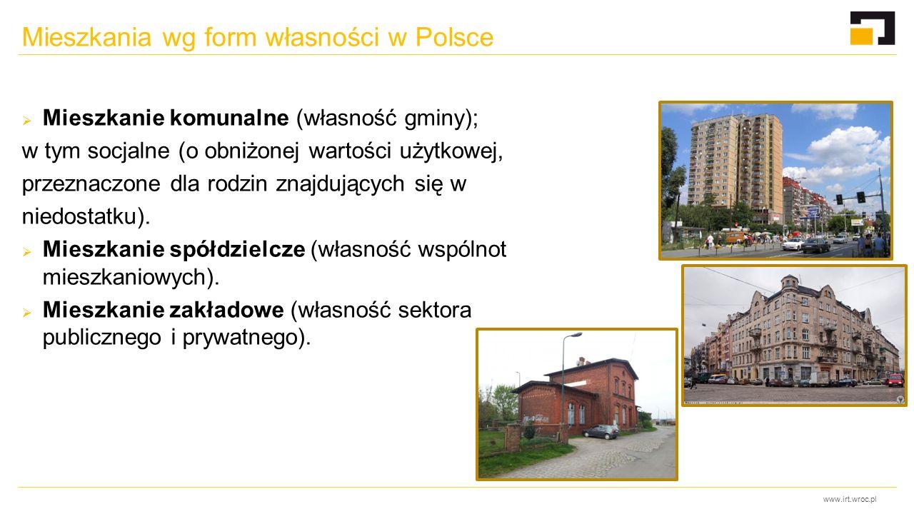 www.irt.wroc.pl Mieszkania wg form własności w Polsce  Mieszkanie komunalne (własność gminy); w tym socjalne (o obniżonej wartości użytkowej, przezna