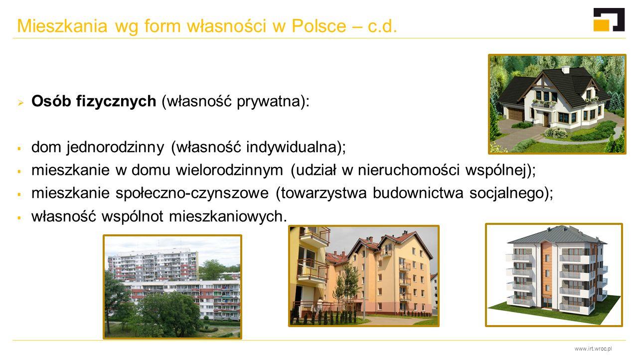 www.irt.wroc.pl Mieszkania wg form własności w Polsce – c.d.  Osób fizycznych (własność prywatna):  dom jednorodzinny (własność indywidualna);  mie