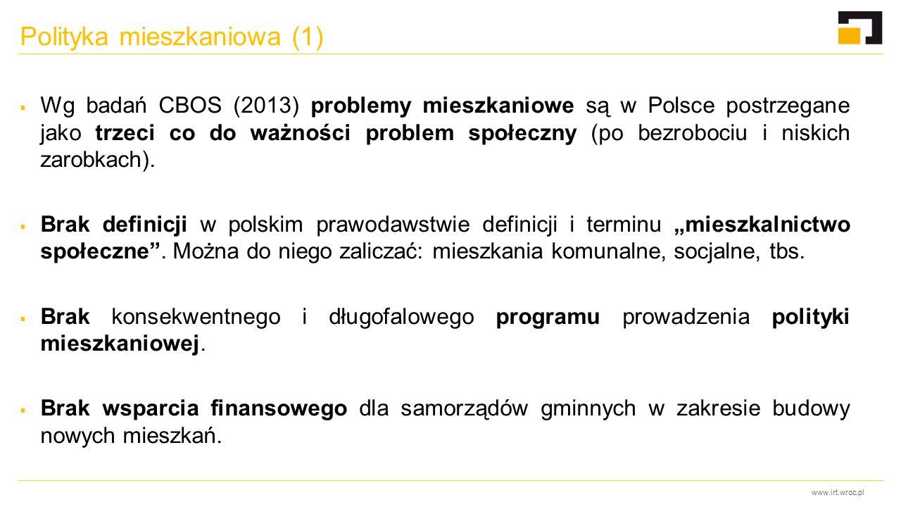 www.irt.wroc.pl Polityka mieszkaniowa (1)  Wg badań CBOS (2013) problemy mieszkaniowe są w Polsce postrzegane jako trzeci co do ważności problem społeczny (po bezrobociu i niskich zarobkach).