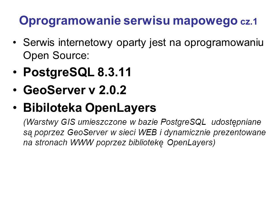 Oprogramowanie serwisu mapowego cz.1 Serwis internetowy oparty jest na oprogramowaniu Open Source: PostgreSQL 8.3.11 GeoServer v 2.0.2 Bibiloteka Open