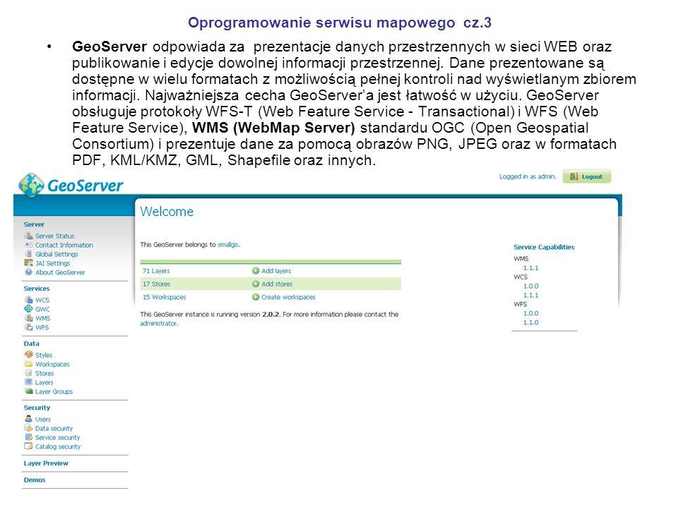 Oprogramowanie serwisu mapowego cz.3 GeoServer odpowiada za prezentacje danych przestrzennych w sieci WEB oraz publikowanie i edycje dowolnej informac