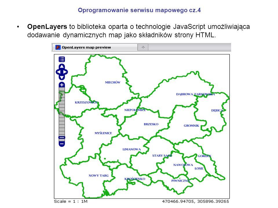 Oprogramowanie serwisu mapowego cz.4 OpenLayers to biblioteka oparta o technologie JavaScript umożliwiająca dodawanie dynamicznych map jako składników