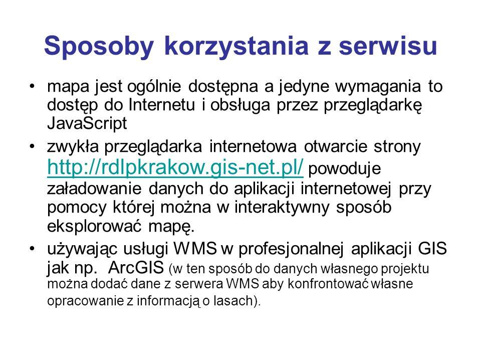 Sposoby korzystania z serwisu mapa jest ogólnie dostępna a jedyne wymagania to dostęp do Internetu i obsługa przez przeglądarkę JavaScript zwykła prze