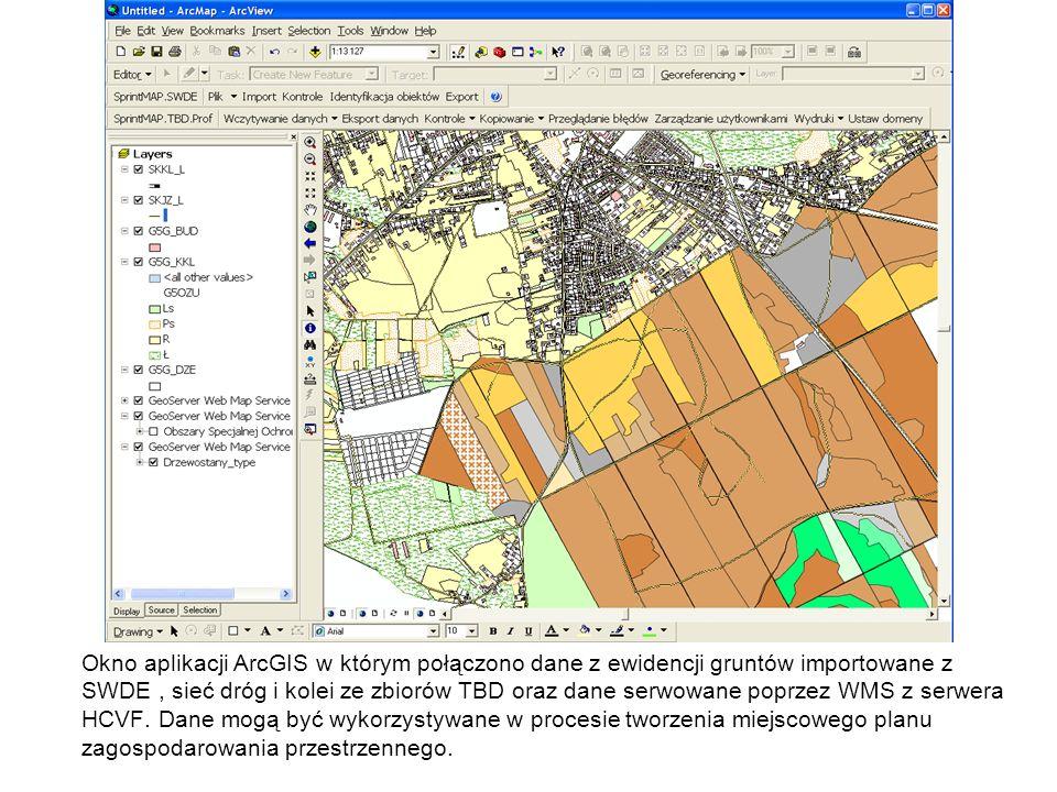 Okno aplikacji ArcGIS w którym połączono dane z ewidencji gruntów importowane z SWDE, sieć dróg i kolei ze zbiorów TBD oraz dane serwowane poprzez WMS
