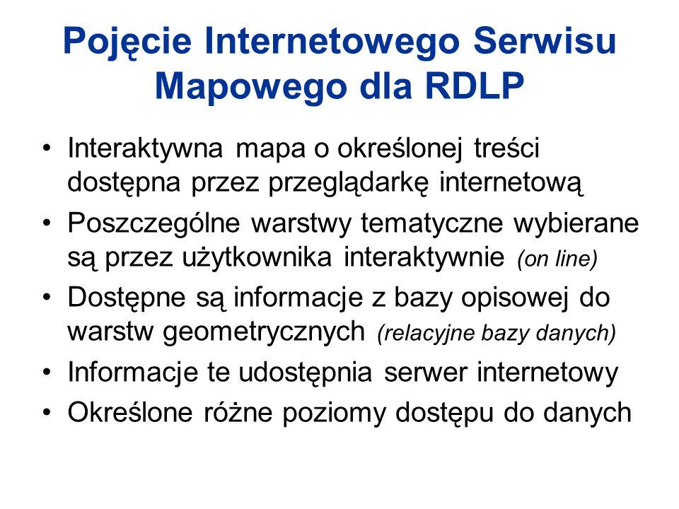 Pojęcie Internetowego Serwisu Mapowego dla RDLP Interaktywna mapa o określonej treści dostępna przez przeglądarkę internetową Poszczególne warstwy tem