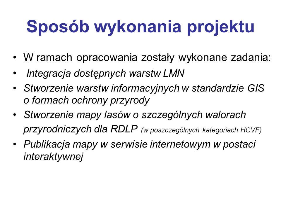 Sposób wykonania projektu W ramach opracowania zostały wykonane zadania: Integracja dostępnych warstw LMN Stworzenie warstw informacyjnych w standardz