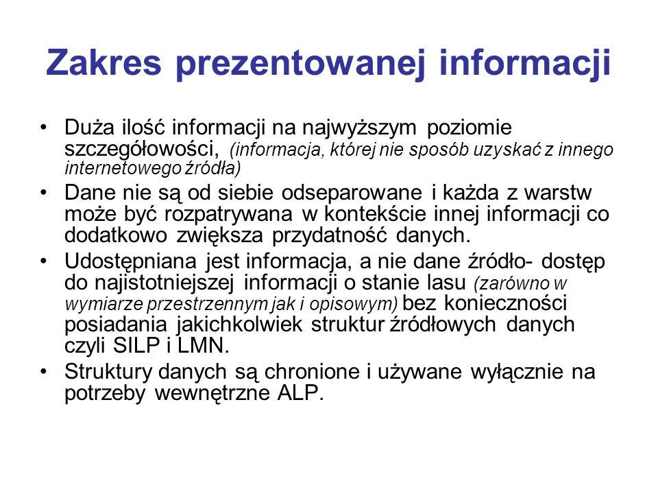 Zakres prezentowanej informacji Duża ilość informacji na najwyższym poziomie szczegółowości, (informacja, której nie sposób uzyskać z innego interneto