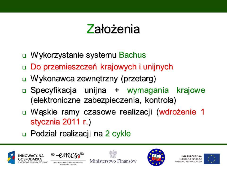 Założenia  Wykorzystanie systemu Bachus  Do przemieszczeń krajowych i unijnych  Wykonawca zewnętrzny (przetarg)  Specyfikacja unijna + wymagania krajowe (elektroniczne zabezpieczenia, kontrola)  Wąskie ramy czasowe realizacji (wdrożenie 1 stycznia 2011 r.)  Podział realizacji na 2 cykle