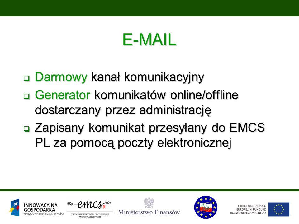 E-MAIL  Darmowy kanał komunikacyjny  Generator komunikatów online/offline dostarczany przez administrację  Zapisany komunikat przesyłany do EMCS PL