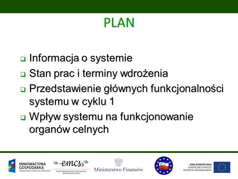 PLAN  Informacja o systemie  Stan prac i terminy wdrożenia  Przedstawienie głównych funkcjonalności systemu w cyklu 1  Wpływ systemu na funkcjonowanie organów celnych