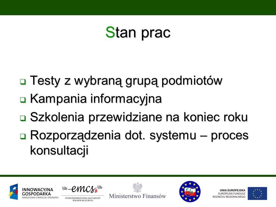 Stan prac  Testy z wybraną grupą podmiotów  Kampania informacyjna  Szkolenia przewidziane na koniec roku  Rozporządzenia dot. systemu – proces kon