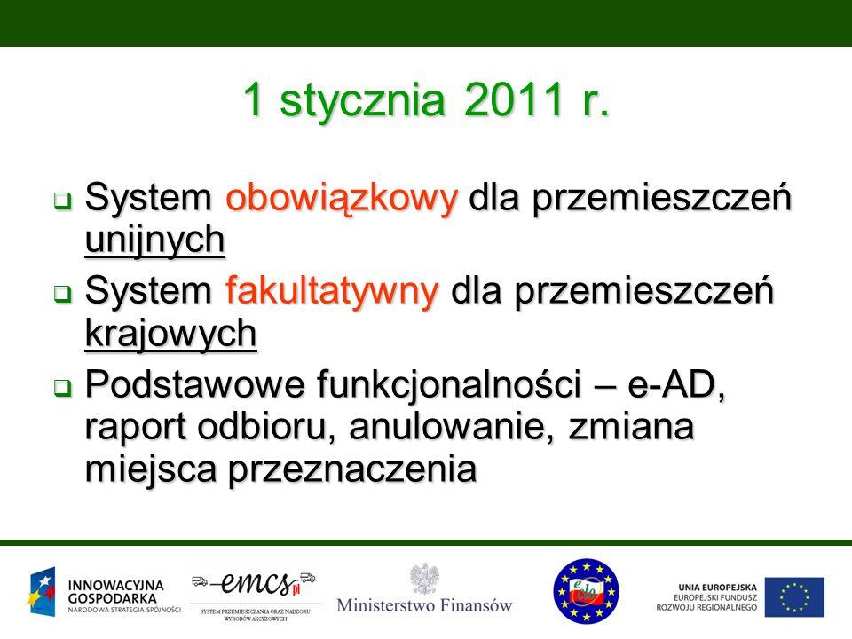1 stycznia 2011 r.  System obowiązkowy dla przemieszczeń unijnych  System fakultatywny dla przemieszczeń krajowych  Podstawowe funkcjonalności – e-