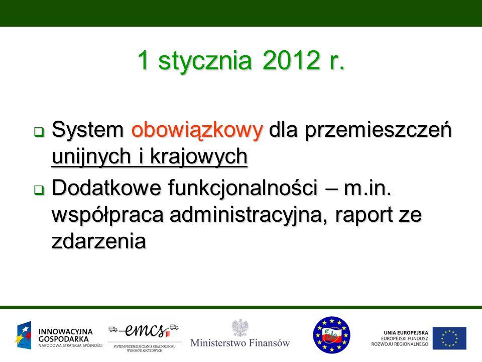 1 stycznia 2012 r.  System obowiązkowy dla przemieszczeń unijnych i krajowych  Dodatkowe funkcjonalności – m.in. współpraca administracyjna, raport