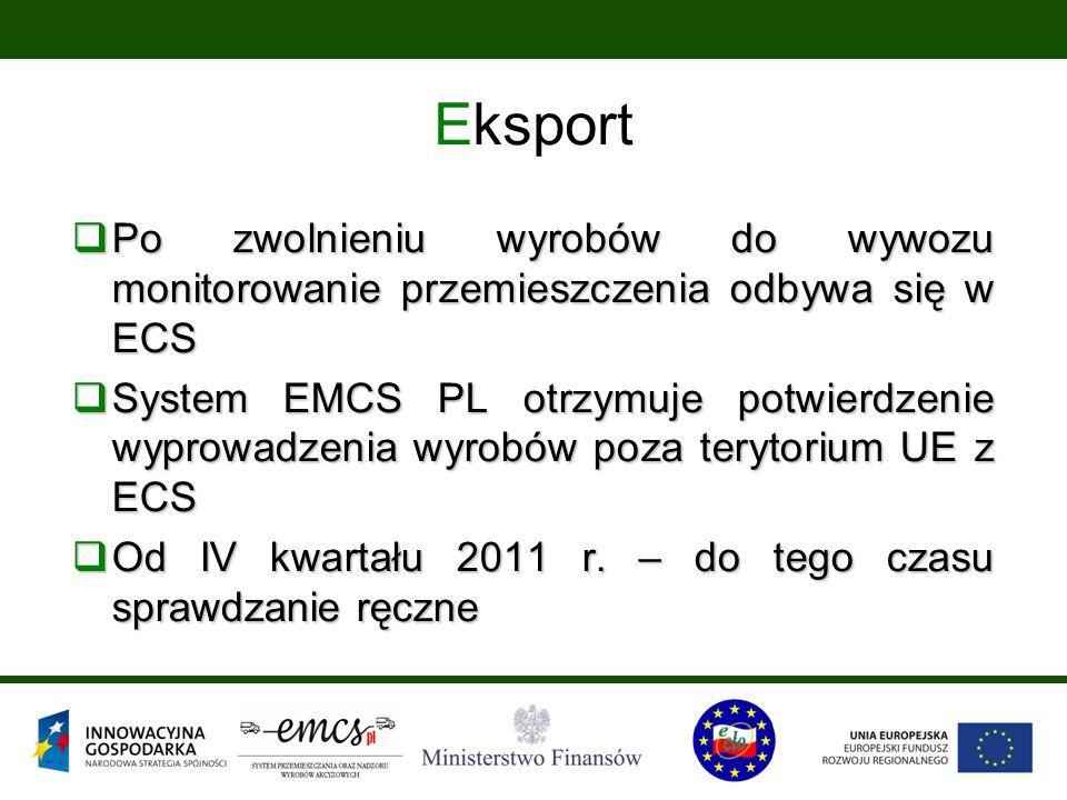Eksport  Po zwolnieniu wyrobów do wywozu monitorowanie przemieszczenia odbywa się w ECS  System EMCS PL otrzymuje potwierdzenie wyprowadzenia wyrobów poza terytorium UE z ECS  Od IV kwartału 2011 r.