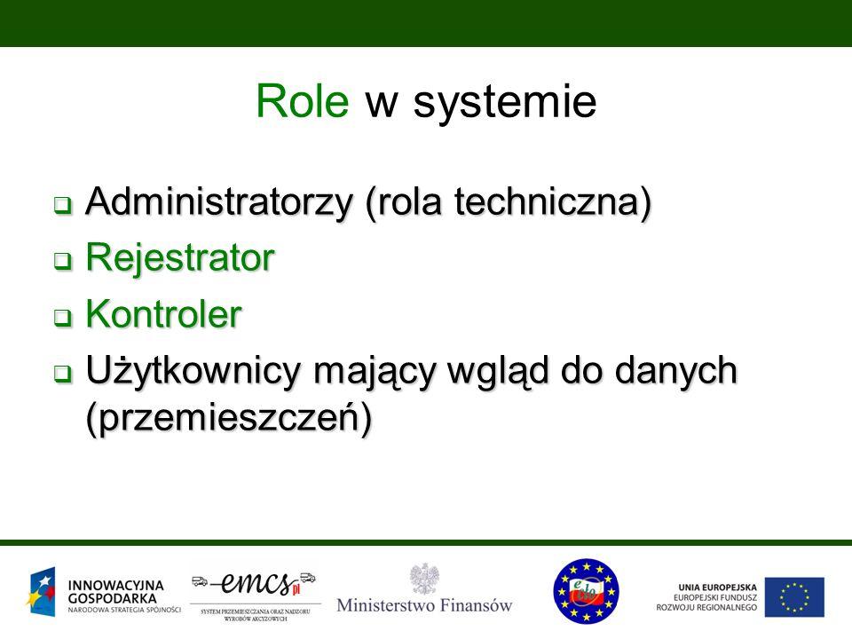  Administratorzy (rola techniczna)  Rejestrator  Kontroler  Użytkownicy mający wgląd do danych (przemieszczeń) Role w systemie