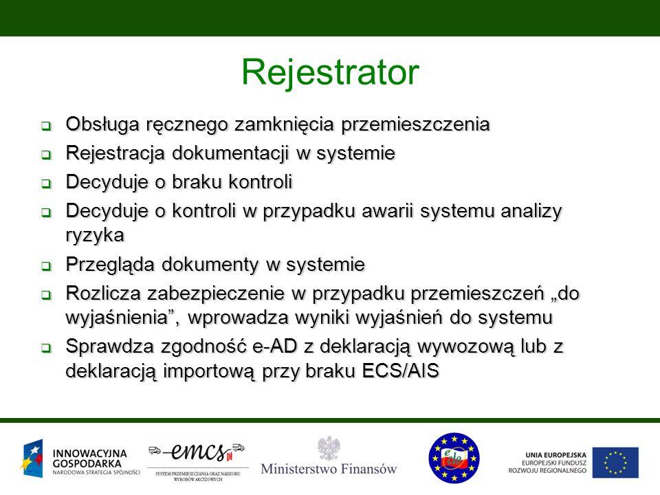 """ Obsługa ręcznego zamknięcia przemieszczenia  Rejestracja dokumentacji w systemie  Decyduje o braku kontroli  Decyduje o kontroli w przypadku awarii systemu analizy ryzyka  Przegląda dokumenty w systemie  Rozlicza zabezpieczenie w przypadku przemieszczeń """"do wyjaśnienia , wprowadza wyniki wyjaśnień do systemu  Sprawdza zgodność e-AD z deklaracją wywozową lub z deklaracją importową przy braku ECS/AIS Rejestrator"""