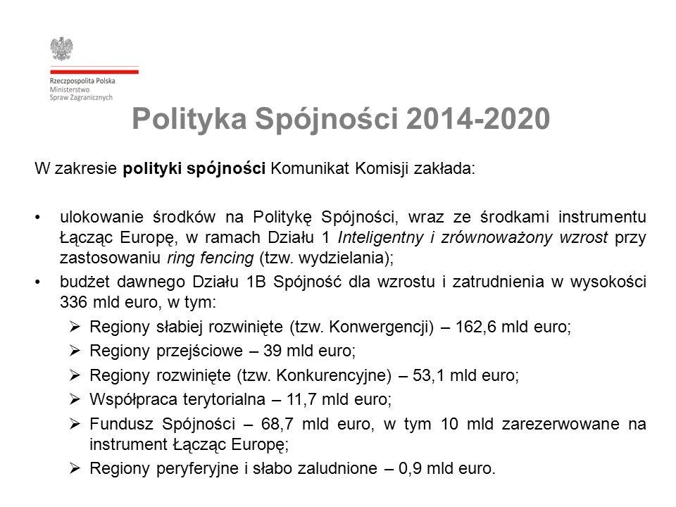 Polityka Spójności 2014-2020 W zakresie polityki spójności Komunikat Komisji zakłada: ulokowanie środków na Politykę Spójności, wraz ze środkami instrumentu Łącząc Europę, w ramach Działu 1 Inteligentny i zrównoważony wzrost przy zastosowaniu ring fencing (tzw.