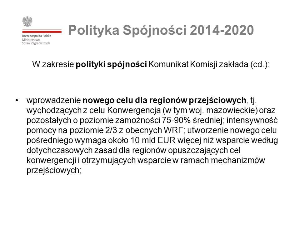 W zakresie polityki spójności Komunikat Komisji zakłada (cd.): wprowadzenie nowego celu dla regionów przejściowych, tj.