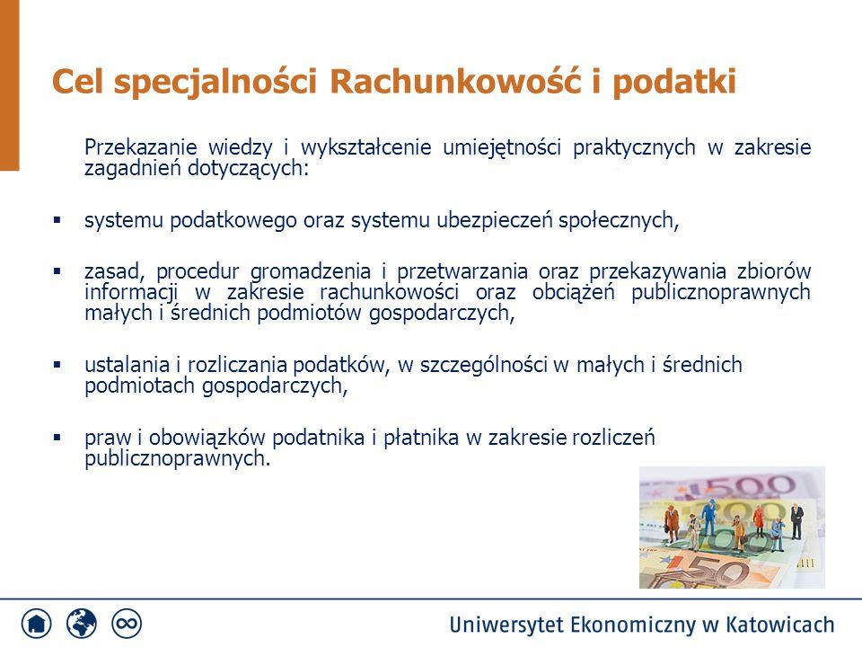 Przekazanie wiedzy i wykształcenie umiejętności praktycznych w zakresie zagadnień dotyczących:  systemu podatkowego oraz systemu ubezpieczeń społeczn