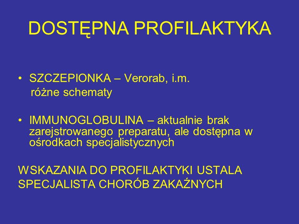 DOSTĘPNA PROFILAKTYKA SZCZEPIONKA – Verorab, i.m. różne schematy IMMUNOGLOBULINA – aktualnie brak zarejstrowanego preparatu, ale dostępna w ośrodkach