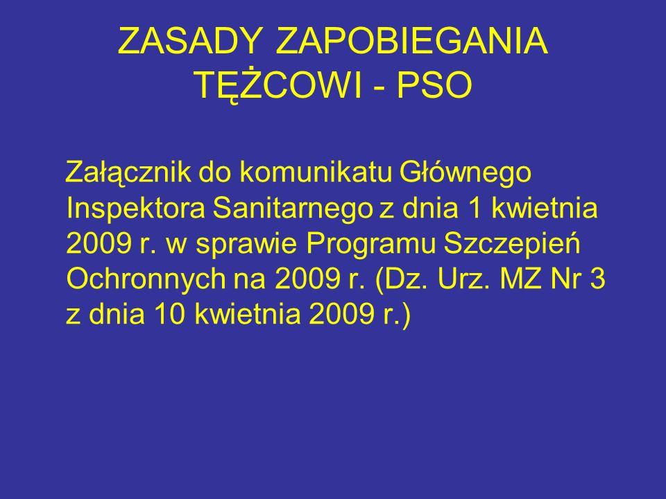 ZASADY ZAPOBIEGANIA TĘŻCOWI - PSO Załącznik do komunikatu Głównego Inspektora Sanitarnego z dnia 1 kwietnia 2009 r. w sprawie Programu Szczepień Ochro