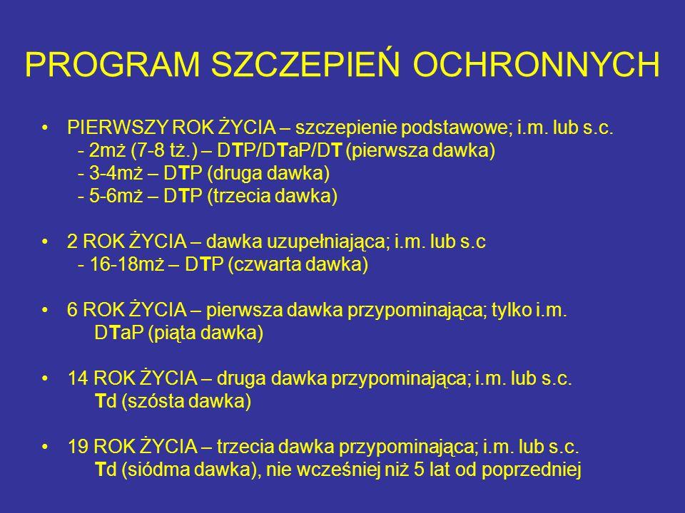 PROGRAM SZCZEPIEŃ OCHRONNYCH PIERWSZY ROK ŻYCIA – szczepienie podstawowe; i.m. lub s.c. - 2mż (7-8 tż.) – DTP/DTaP/DT (pierwsza dawka) - 3-4mż – DTP (